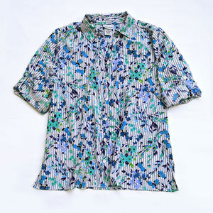 Floral and Striped Print Short Sleeve Blouse L